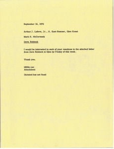 Thumbnail of Memorandum from Mark H. McCormack to Arthur J. Lafave, H. Kent Stanner and Glen Konet