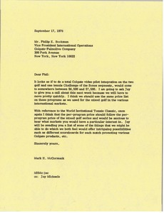 Thumbnail of Letter from Mark H. McCormack to Phillip E. Beekman