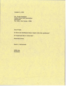 Thumbnail of Letter from Mark H. McCormack to Frank Hannigan
