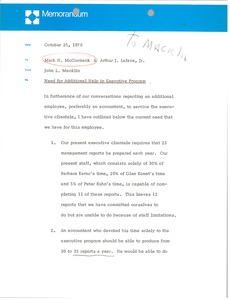 Thumbnail of Memorandum from John L. Macklin to Mark H. McCormack