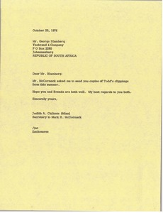 Thumbnail of Letter from Judy A. Chilcote to George Blumberg