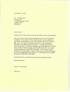 Thumbnail of Letter from Mark H. McCormack to David Sword