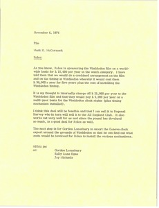 Thumbnail of Memorandum from Mark H. McCormack to Rolex file