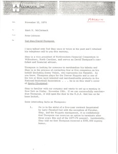 Thumbnail of Memorandum from Peter Johnson to Mark H. McCormack