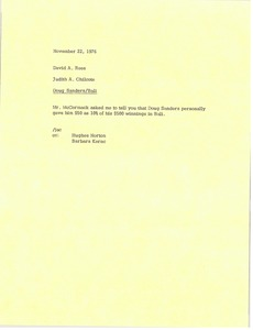 Thumbnail of Memorandum from Judy A. Chilcote to David A. Rees