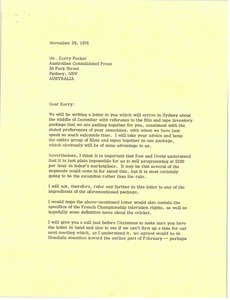 Thumbnail of Letter from Mark H. McCormack to Kerry Packer