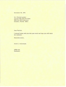 Thumbnail of Letter from Mark H. McCormack to Patrick Lemaire