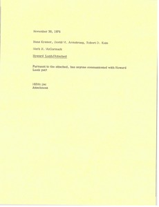 Thumbnail of Memorandum from Mark H. McCormack to Hans Kramer, David Armstrong and Robert D.             Kain