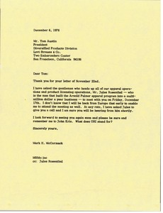 Thumbnail of Letter from Mark H. McCormack to Tom Austin