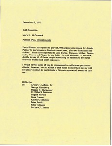 Thumbnail of Memorandum from Mark H. McCormack to the Golf Committee concerning the Penfold PGA Championship