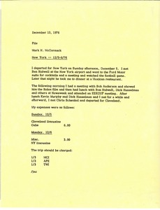 Thumbnail of Memorandum from Mark H. McCormack concerning his trip to New York from December 5 to 6, 1976