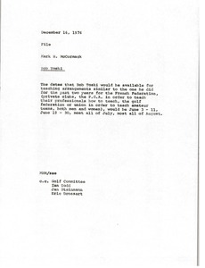 Thumbnail of Memorandum from Mark H. McCormack concerning Bob Toski