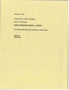 Thumbnail of Memorandum from Mark H. McCormack to Howard Katz and Arthur Rosenblum