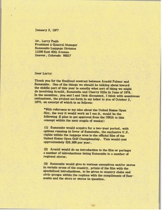 Thumbnail of Letter from Mark H. McCormack to Larry Pugh