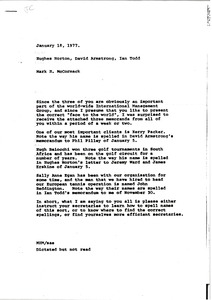 Thumbnail of Memorandum from Mark H. McCormack to Hughes Norton, David Armstrong and Ian Todd