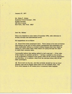 Thumbnail of Letter from Mark H. McCormack to Helen P. Mohan