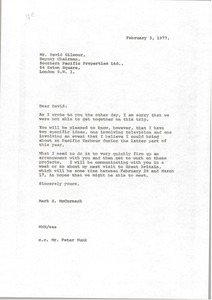 Thumbnail of Letter from Mark H. McCormack to David Gilmour