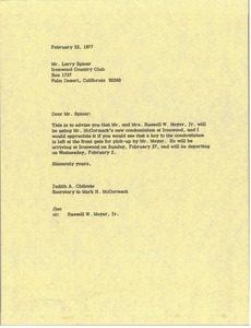 Thumbnail of Letter from Judy A. Chilcote to Larry Spicer