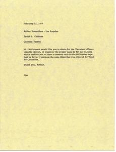Thumbnail of Letter from Judy A. Chilcote to Arthur Rosenblum