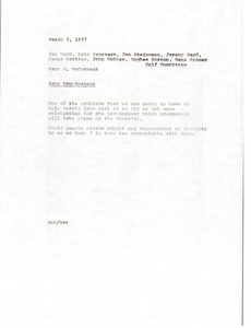 Thumbnail of Memorandum from Mark H. McCormack to Ian Todd, Eric Drossart, Jan Steinmann, Jeremy Ward, James Erskine, John Webber, Hughes Norton, Hans Kramer and the golf committee.