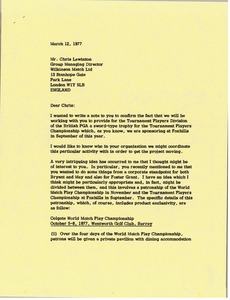 Thumbnail of Letter from Mark H. McCormack to Chris Lewinotn