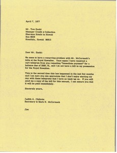 Thumbnail of Letter from Judy A. Chilcote to Tom Enoki