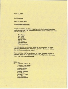 Thumbnail of Memorandum from Mark H. McCormack to golf committee