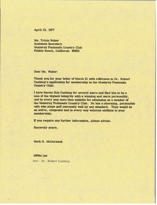 Thumbnail of Letter from Mark H. McCormack to Tricia Weber