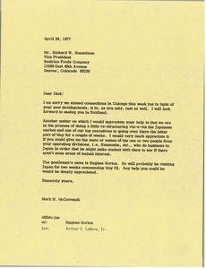 Thumbnail of Letter from Mark H. McCormack to Richard W. Hanselman
