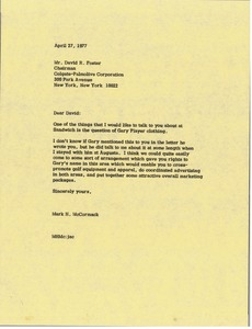Thumbnail of Letter from Mark H. McCormack to David R. Foster