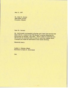Thumbnail of Letter from Judy A. Chilcote to John M. Dorsey