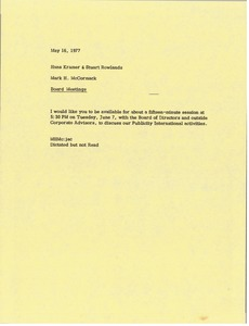 Thumbnail of Memorandum from Mark H. McCormack to Hans Kramer and Stuart Rowlands