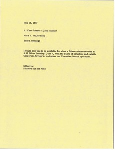 Thumbnail of Memorandum from Mark H. McCormack to H. Kent Stanner and John H. Melcher