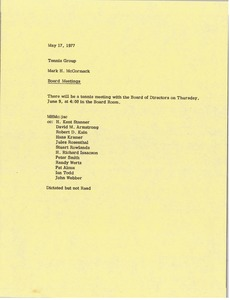 Thumbnail of Memorandum from Mark H. McCormack to tennis group