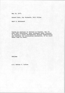 Thumbnail of Memorandum from Mark H. McCormack to Howard Katz, Jay Michaels and Phil Pilley