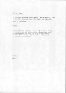 Thumbnail of Memorandum from Mark H. McCormack to H. Richard Isaacson, Hans Kramer, Jan Steinmann, Dick Moore, Dave DeBusschere, Mike Clark and Jay Michaels