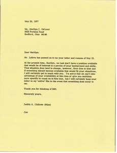 Thumbnail of Letter from Judy A. Chilcote to Marilyn J. DiCenzi