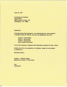 Thumbnail of Letter from Judy A. Chilcote to Czechoslovakia Embassy