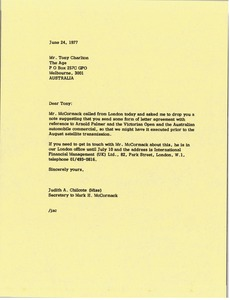 Thumbnail of Letter from Judy A. Chilcote to Tony Charlton