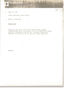 Thumbnail of Memorandum from Mark H. McCormack to David Armstrong and Phil Pilley