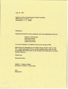 Thumbnail of Letter from Judy A. Chilcote to Embassy of the Czechoslovak Socialist Republic
