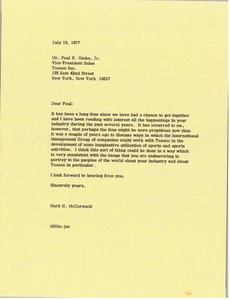 Thumbnail of Letter from Mark H. McCormack to Paul B. Hicks