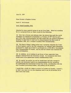 Thumbnail of Memorandum from Mark H. McCormack to Hans Kramer and Hughes Norton