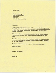 Thumbnail of Letter from Mark H. McCormack to Raymond H. Herzog