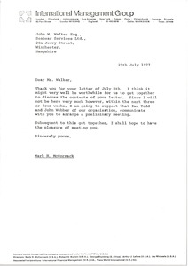 Thumbnail of Letter from Mark H. McCormack to John W. Walker