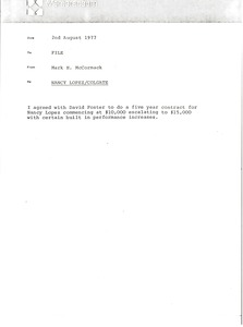 Thumbnail of Memorandum from Mark H. McCormack concerning Nancy Lopez and Colgate