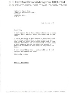 Thumbnail of Letter from Mark H. McCormack to Spiro T. Agnew
