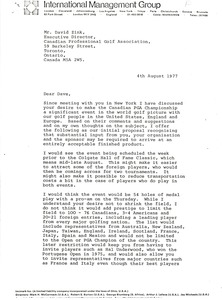 Thumbnail of Letter from Mark H. McCormack to David Zink