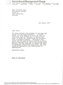 Thumbnail of Letter from Mark H. McCormack to Eric Drossart