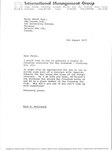 Thumbnail of Letter from Mark H. McCormack to Peter Smith